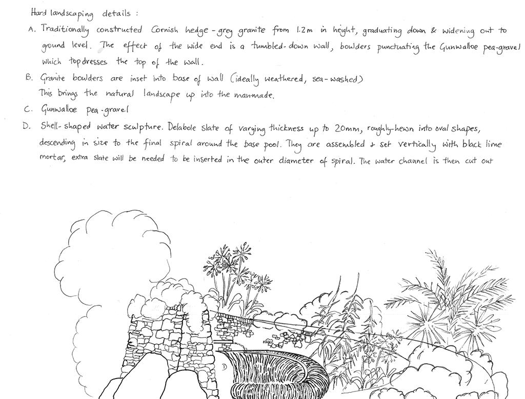 Cornish swirl garden design drawing